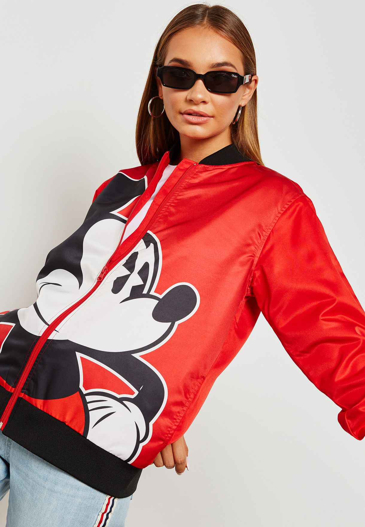 310d6811e3a Shop Forever 21 red Mickey Mouse Print Bomber Jacket 288882 for ...