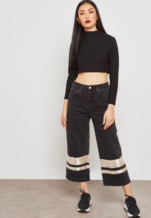 MOTO Striped Hem Jeans