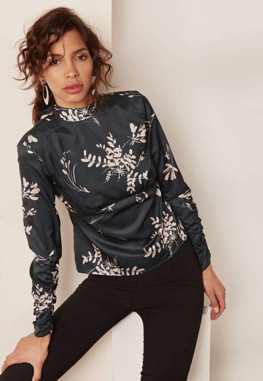 Printed High Neck Ruched Sleeve Top