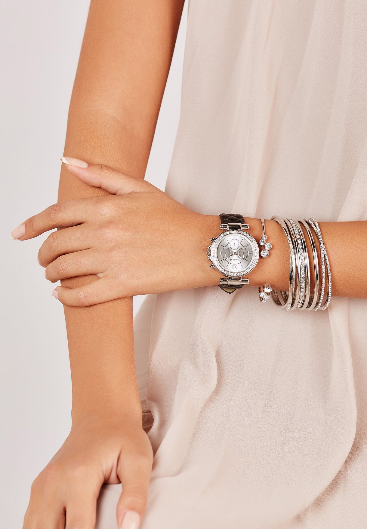 91d870bf04 Shop Aldo silver Aseladda Watch With Multipack Bracelets Set ...