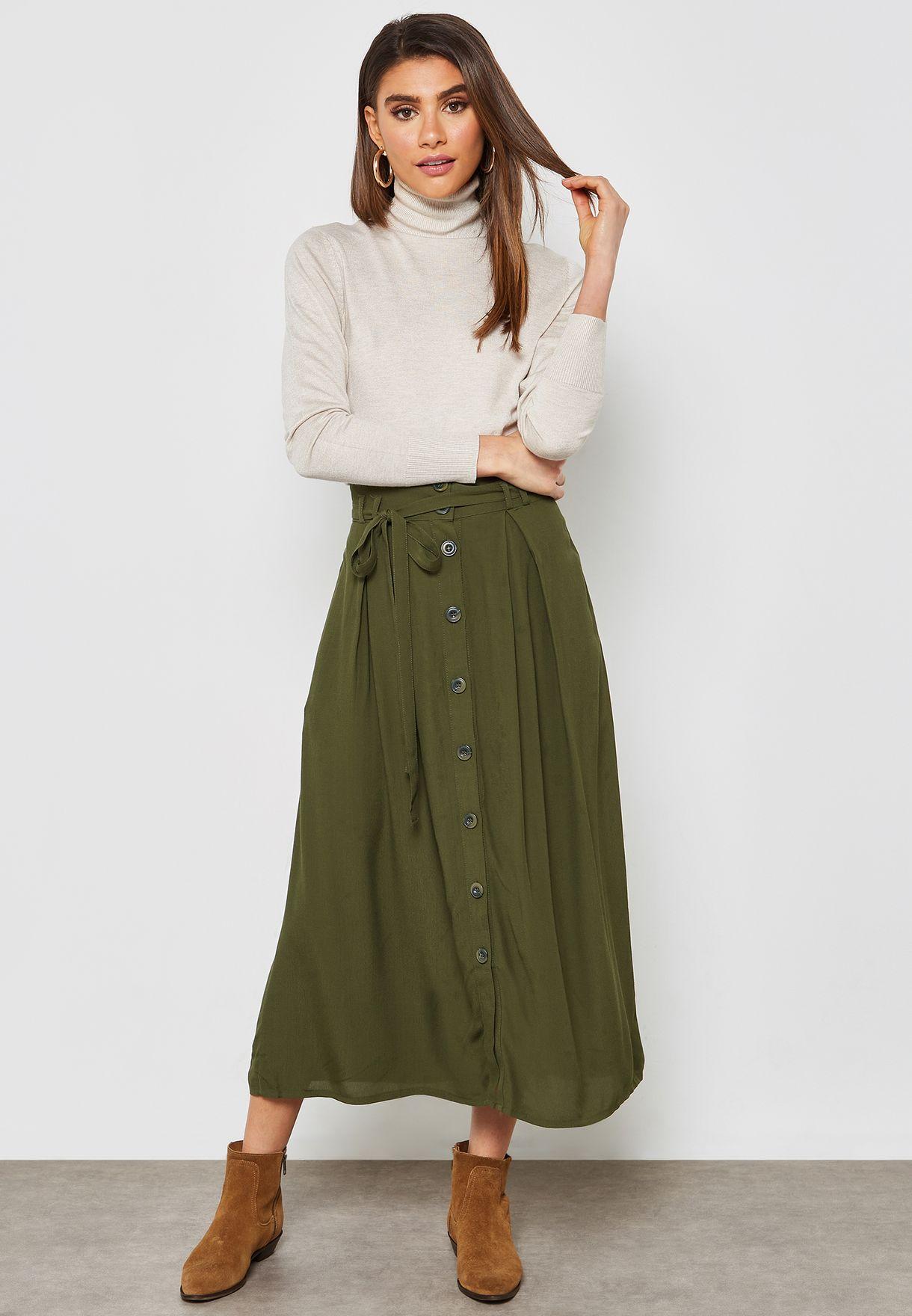 820e393cc628b Shop Koton green Button Through Maxi Skirt 9KAK78161CWKHAKI for ...