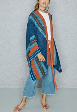 Wide Sleeve Striped Belted Cardigan