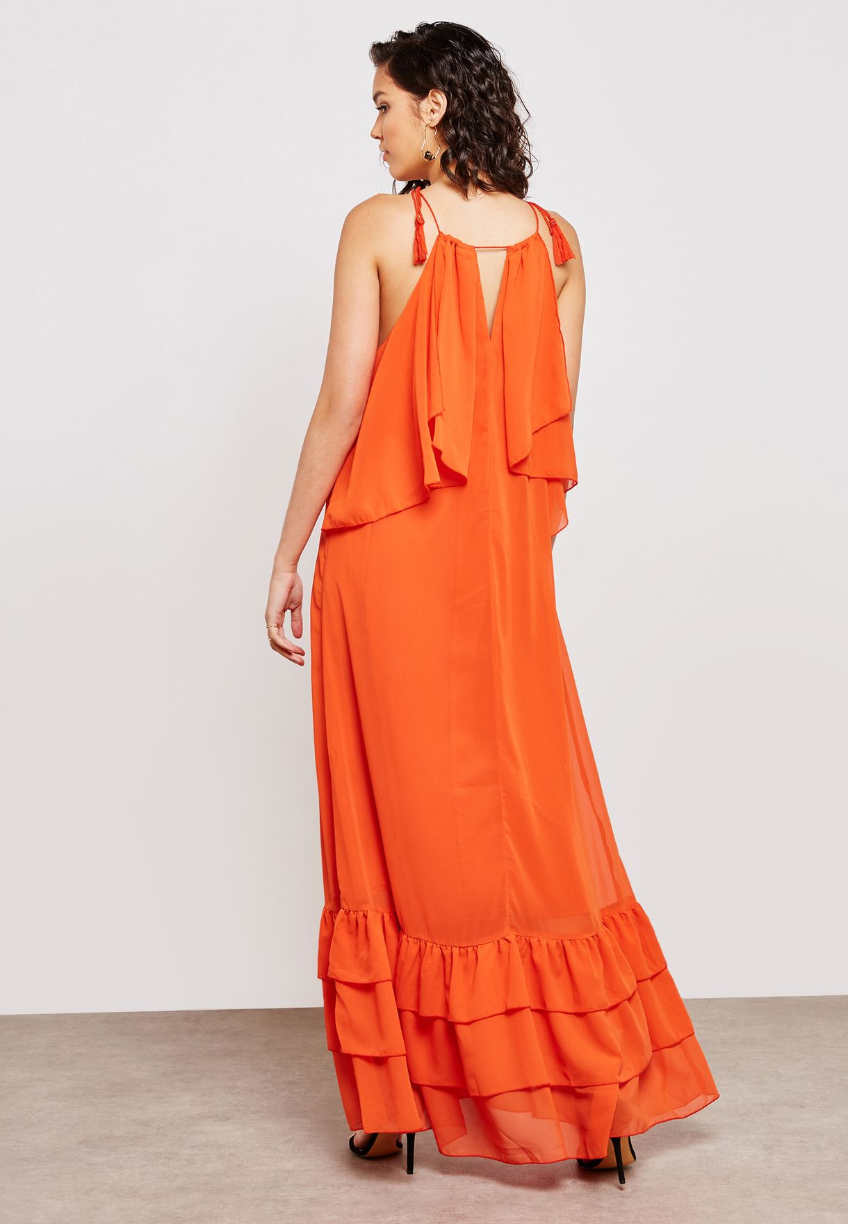 Frill Detail Halter Maxi Dress