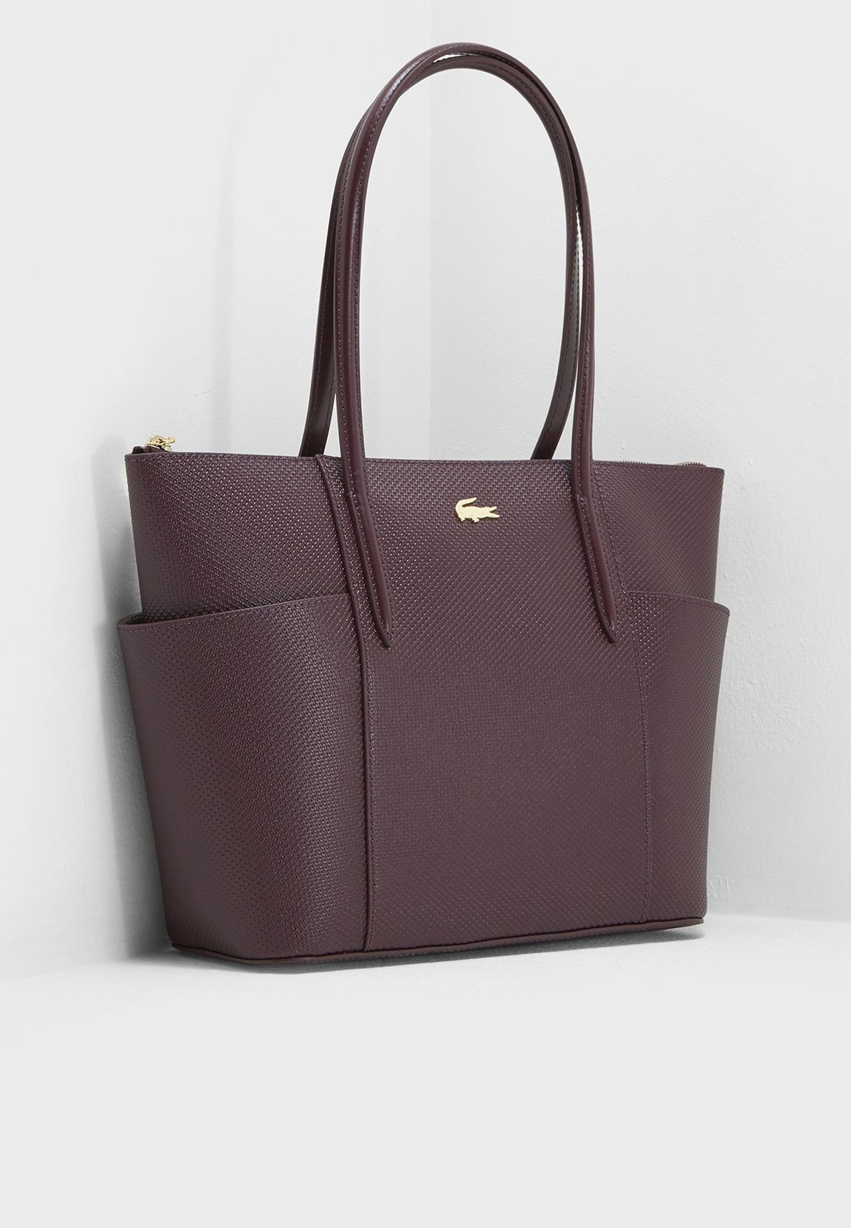 4406634d4782 Shop Lacoste burgundy Classic Side Pockets Zip Tote NF2491CE-972 for Women  in Qatar - LA014AC06VNL