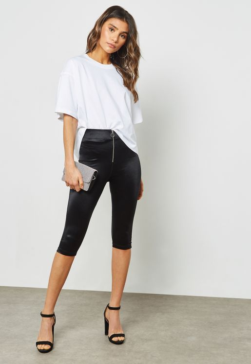 Zip Detail Crop Leggings