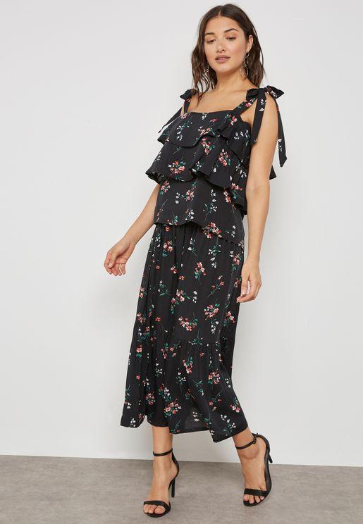 Floral Print Layered Cami Skirt Set