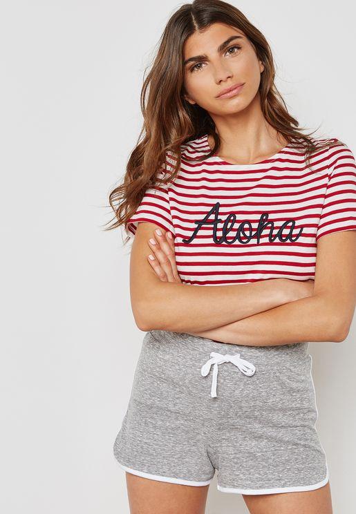 Slogan Striped T-Shirt