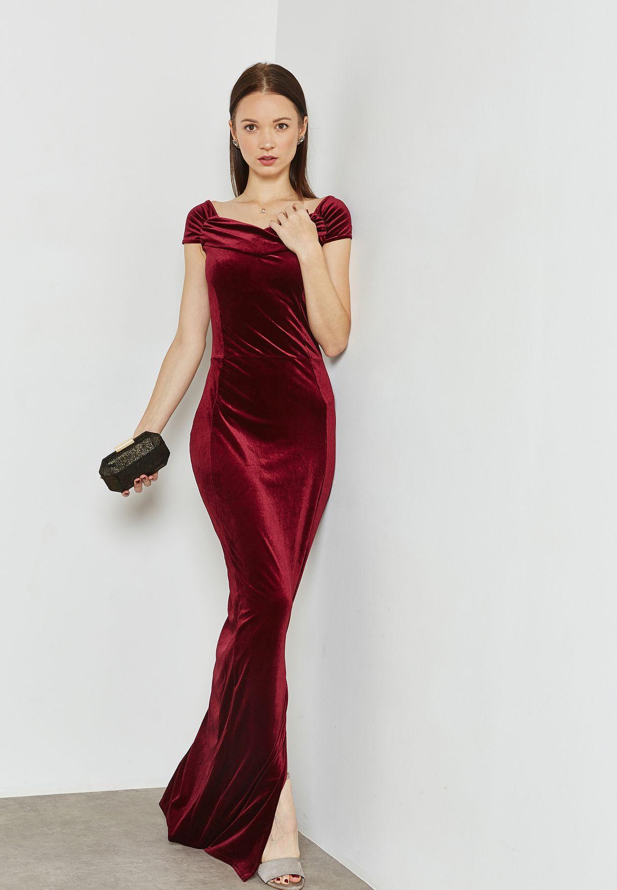 Detail Yoke Velvet Maxi Dress
