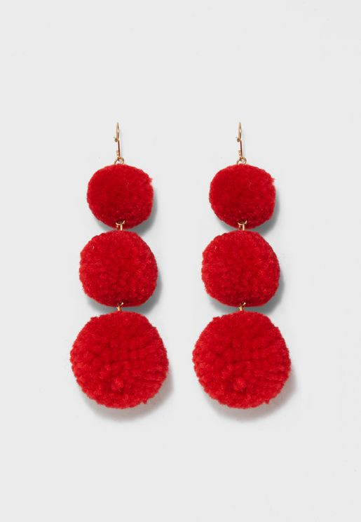 3 Pom Drop Earrings