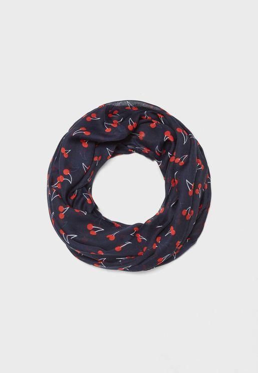 Weaved Tube Cherry Scarf