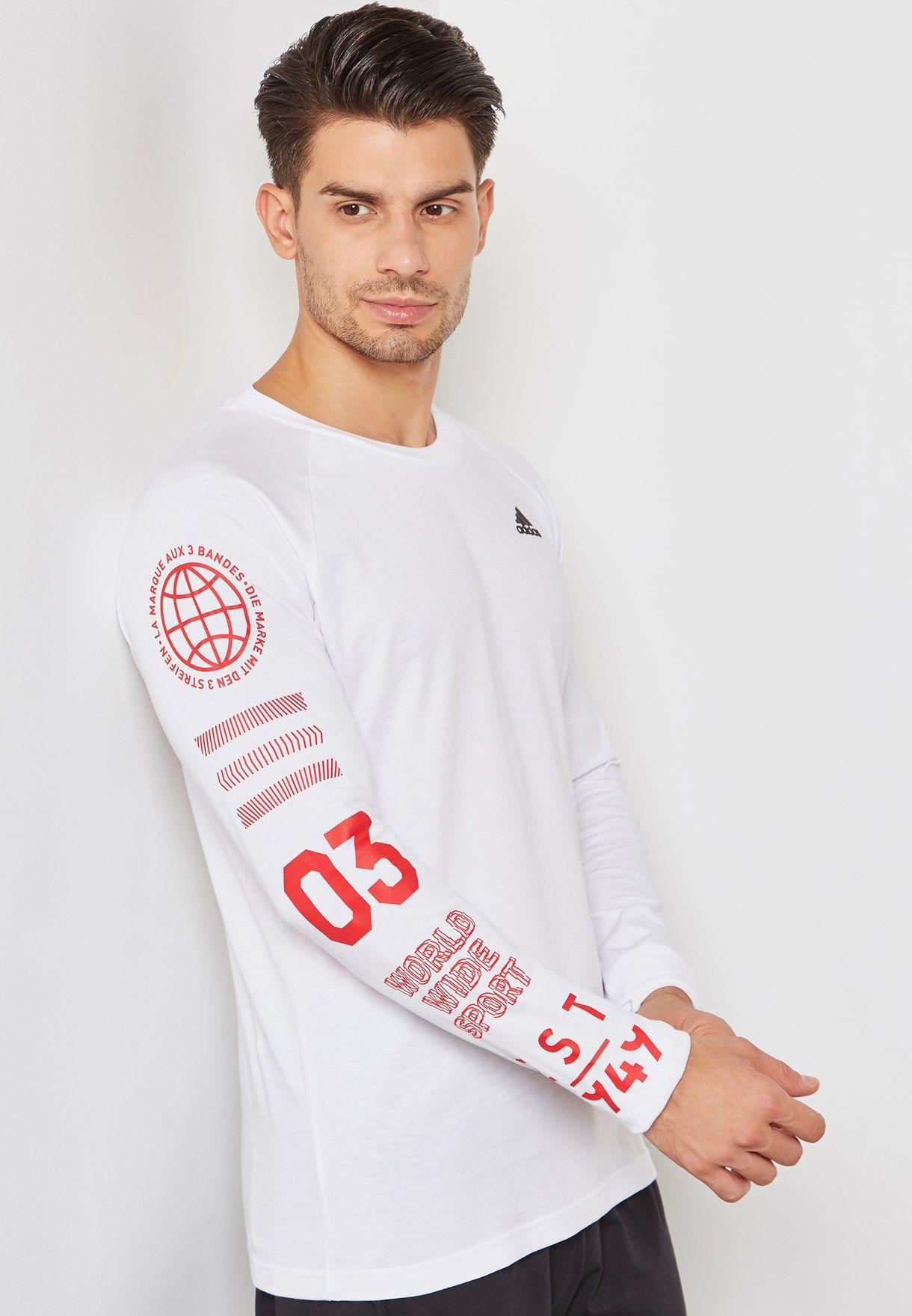 61c92b5fd3bda Shop adidas white Badge T-Shirt DI0319 for Men in UAE - AD476AT06KLX