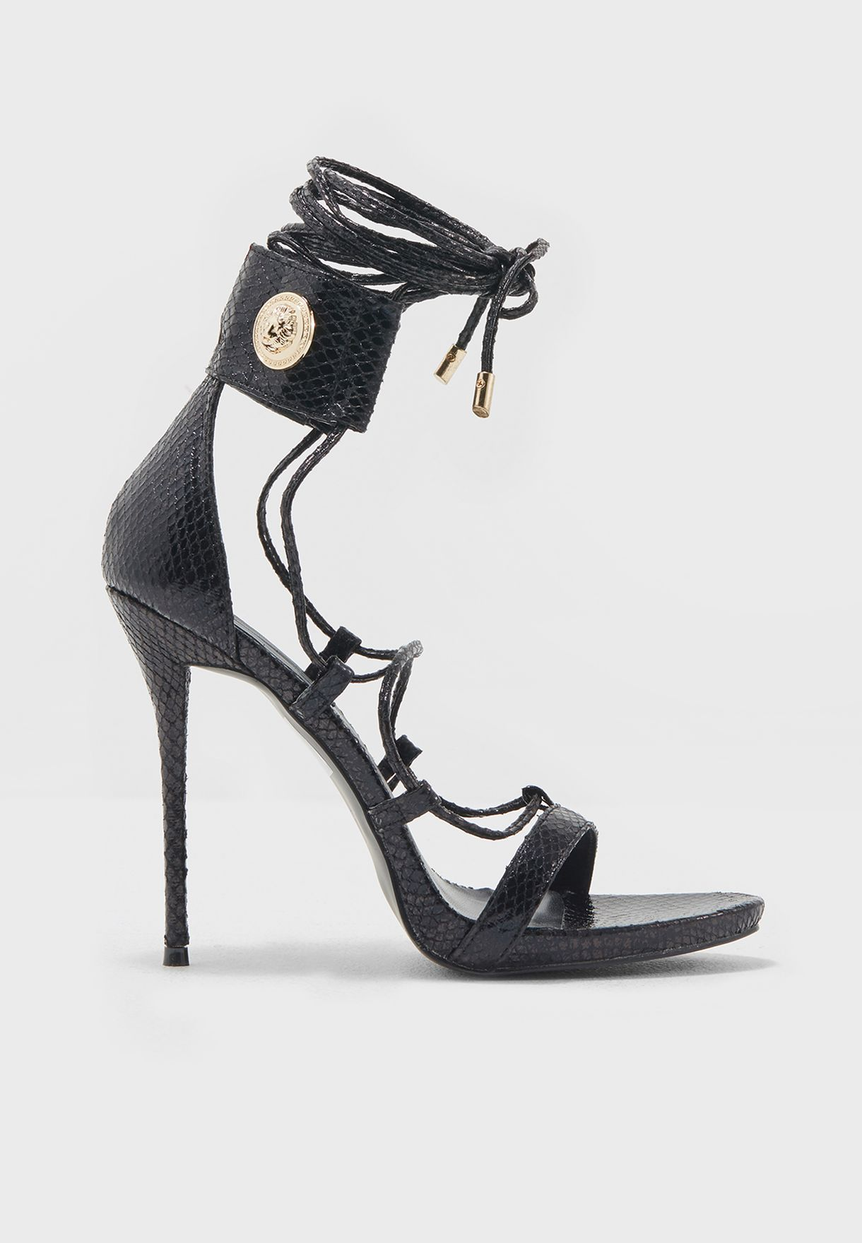 e3af093fc14a Shop Missguided black Love Black Strappy Gold Coin Heels F1607620 ...
