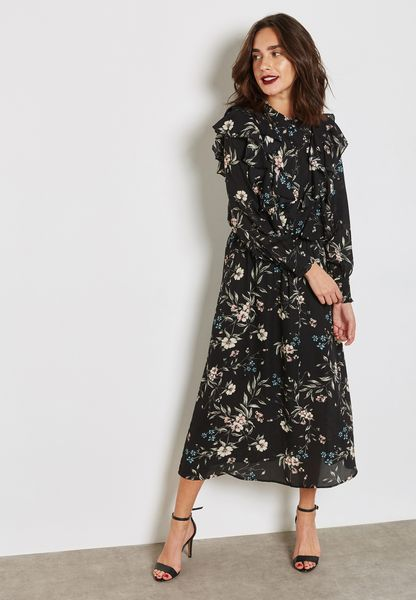 Floral Print Ruffle Detail Midaxi Dress