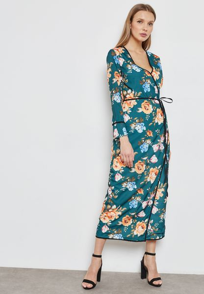 Floral Print Wrap Front Midaxi Dress