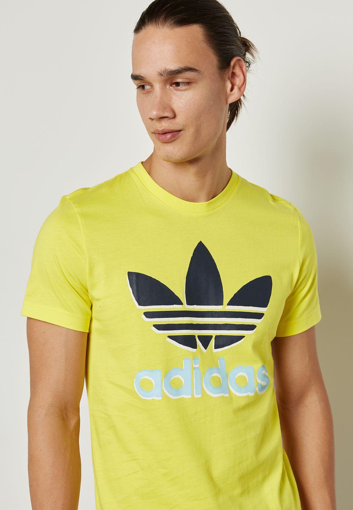 Shop adidas Originals yellow Trefoil T-Shirt BQ7713 for Men in UAE ... 79e297839e