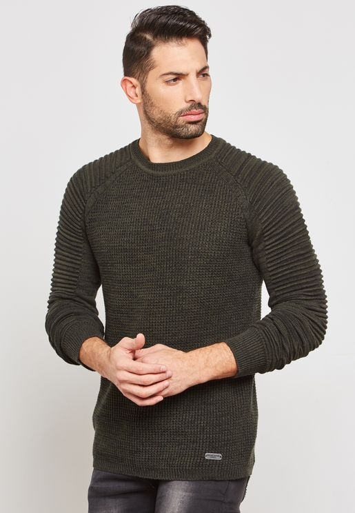 Rib Sleeve Detail Knitted Jumper