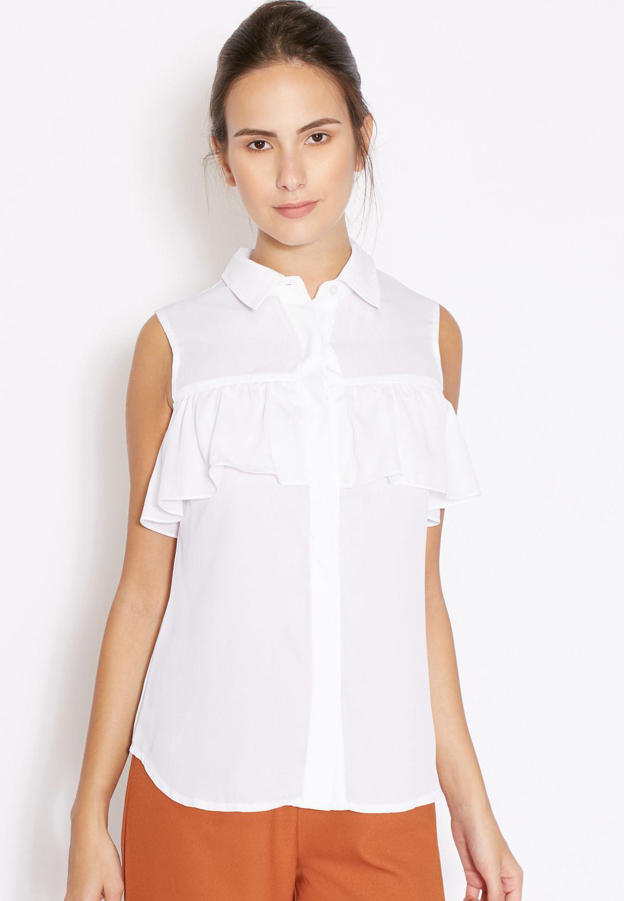 7c5b3da3483c2 Shop Fashion Union white Frill Sleeveless Shirt KLV053 for Women in Kuwait  - FA710AT06SCN
