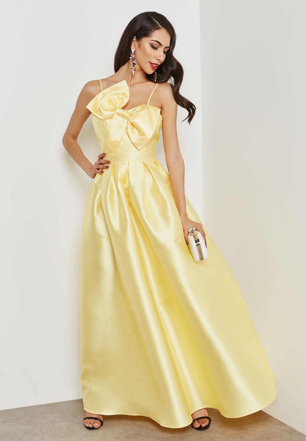 1c64b4c173 Shop Soieblu yellow Bow Detail Maxi Dress M17542 for Women in Kuwait ...