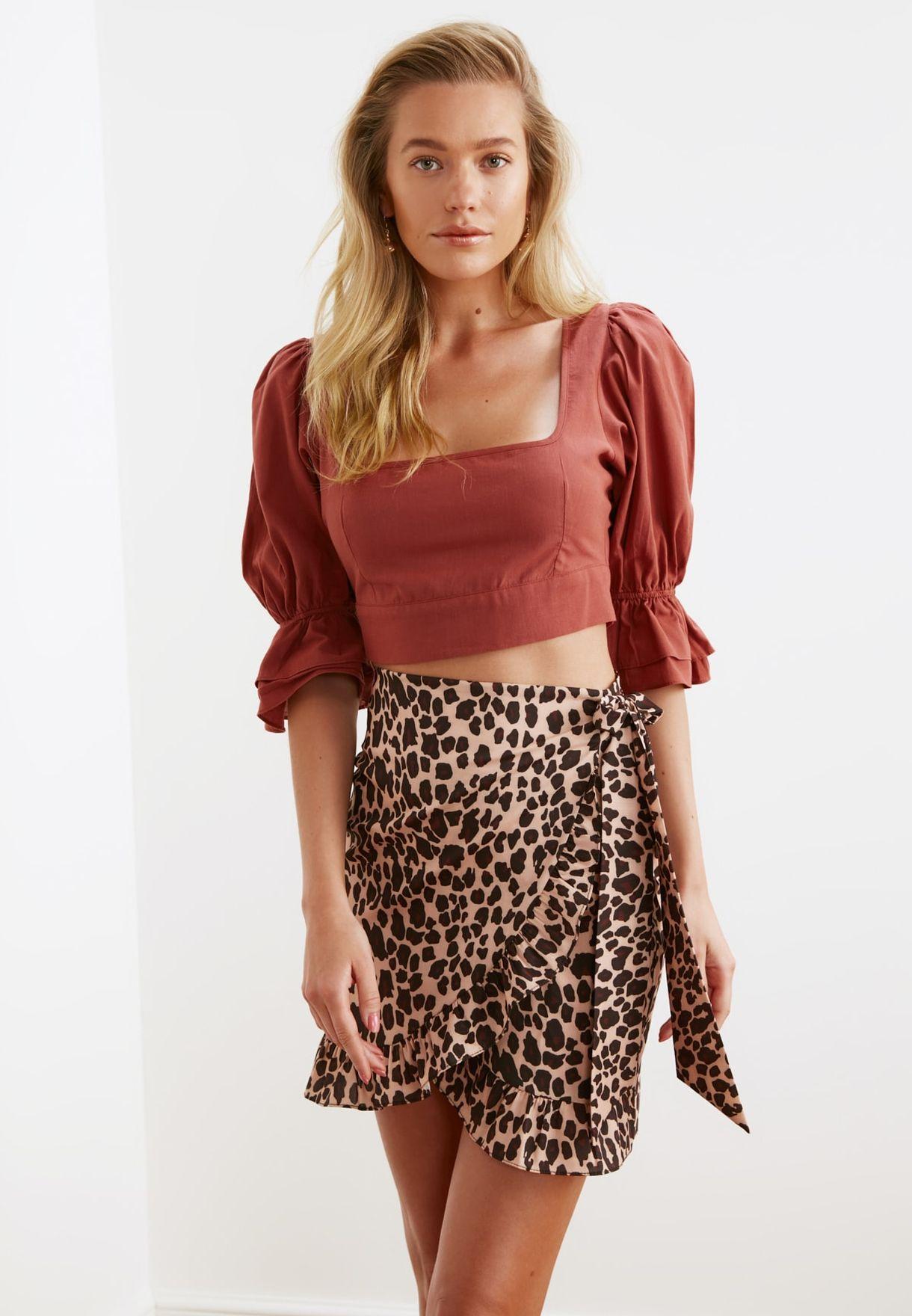 Ruffle Detail Leopard Print Skirt