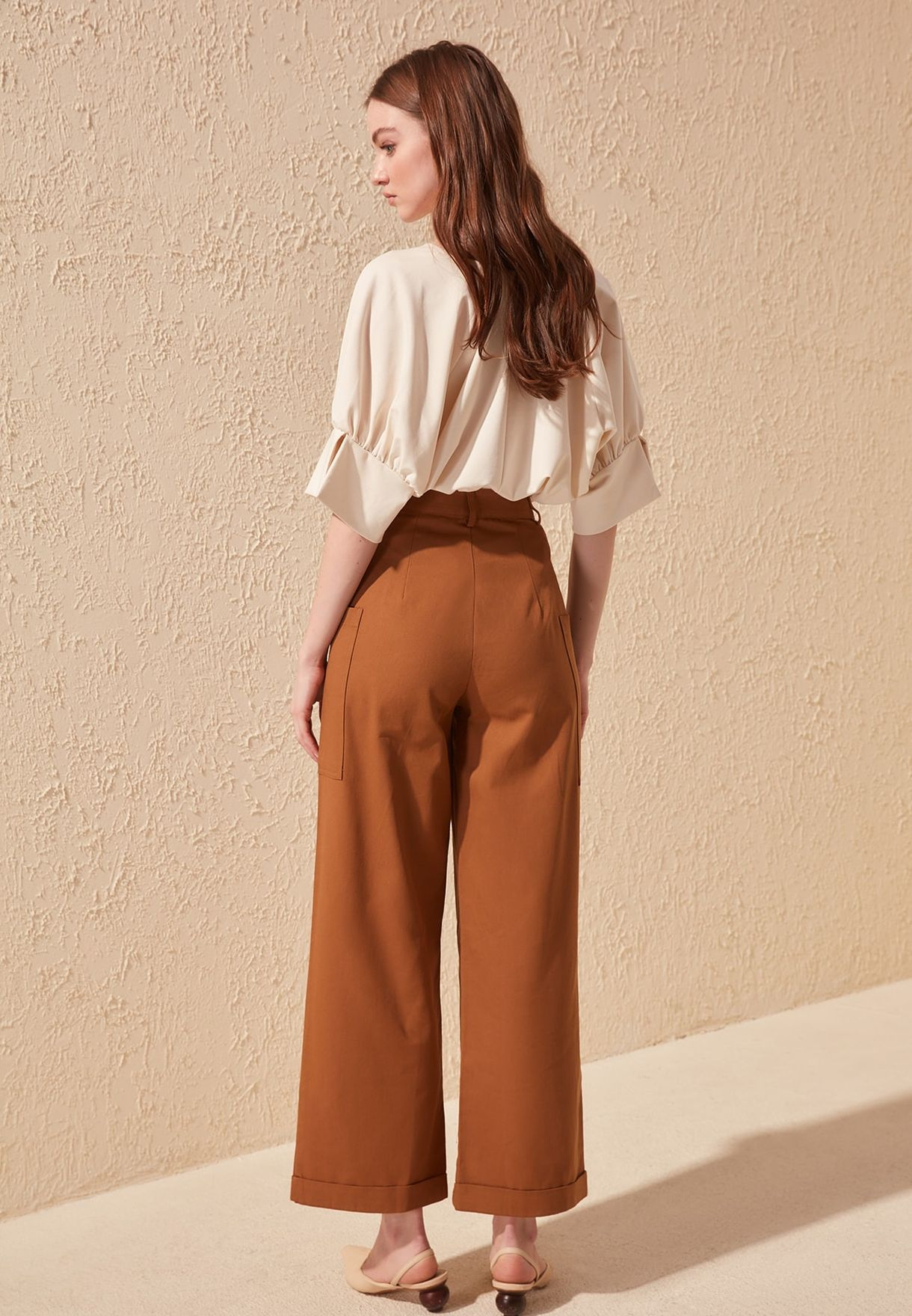 Roll Hem Wide Leg Pants