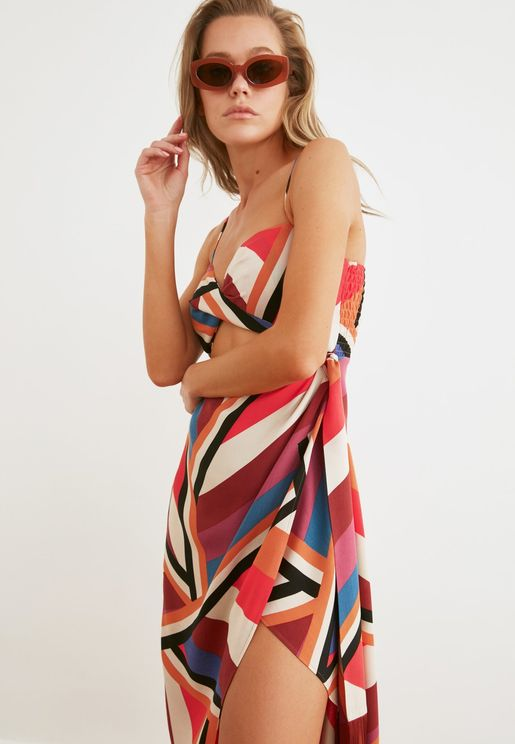 Printed Cut Out Detail Dress