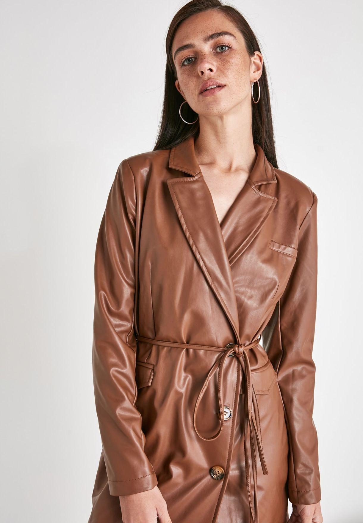 Faux Leather Jacket Dress