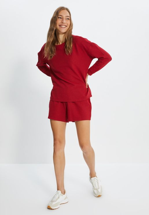 Crew Neck Knitted Top & Shorts Set