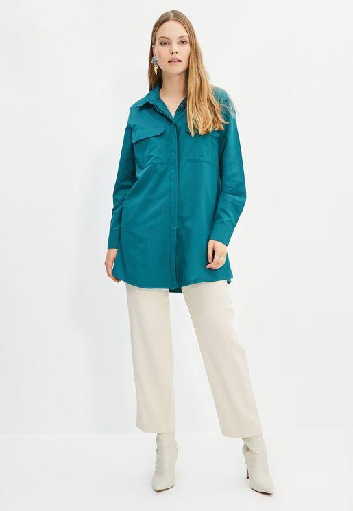 Pocket Detail Button Down Tunic