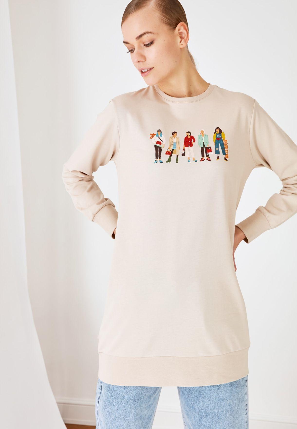 Printed Knitted Sweatshirt