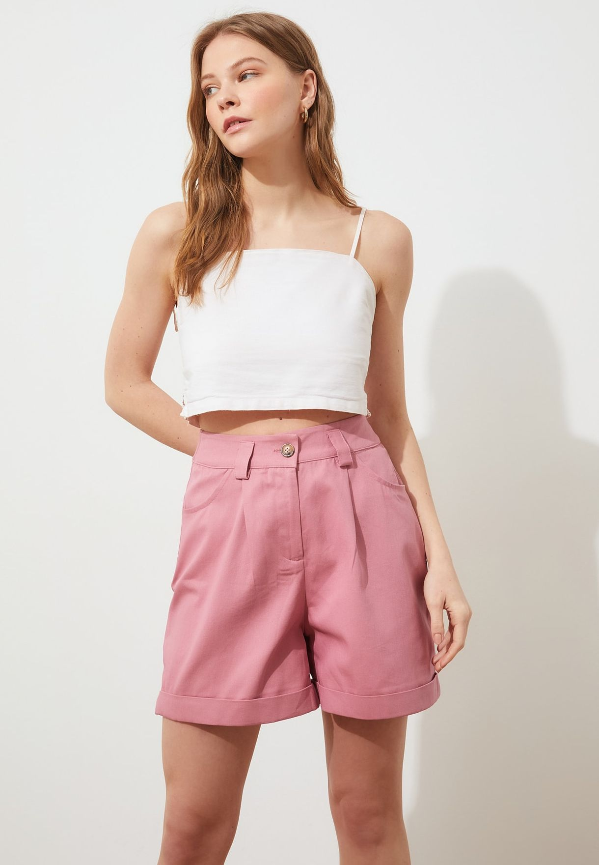 High Waist Roll Hem Shorts