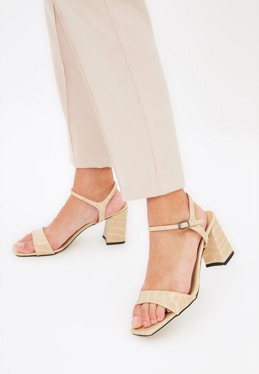 Beige Flat Toe Crocodile Detailed Women'S Classic