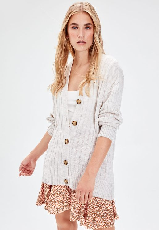 Button Down Ribbed Cardigan