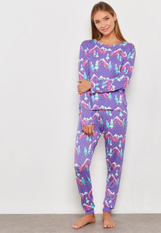 Pine Tree Print Pyjama Set