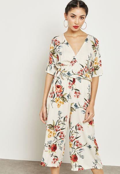 Floral Print Wrap Front Culotte Jmpsuit