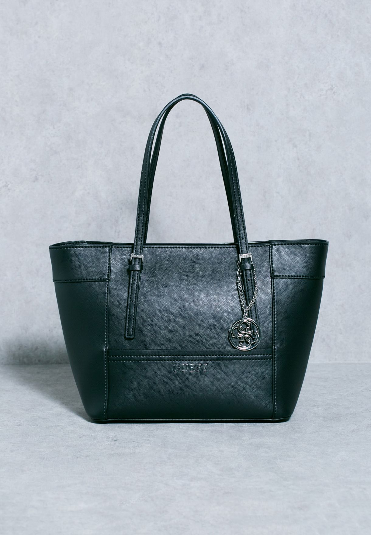 788a2d3ce3c2a Shop Guess black Small Delaney Classic Tote EY453522 for Women in ...