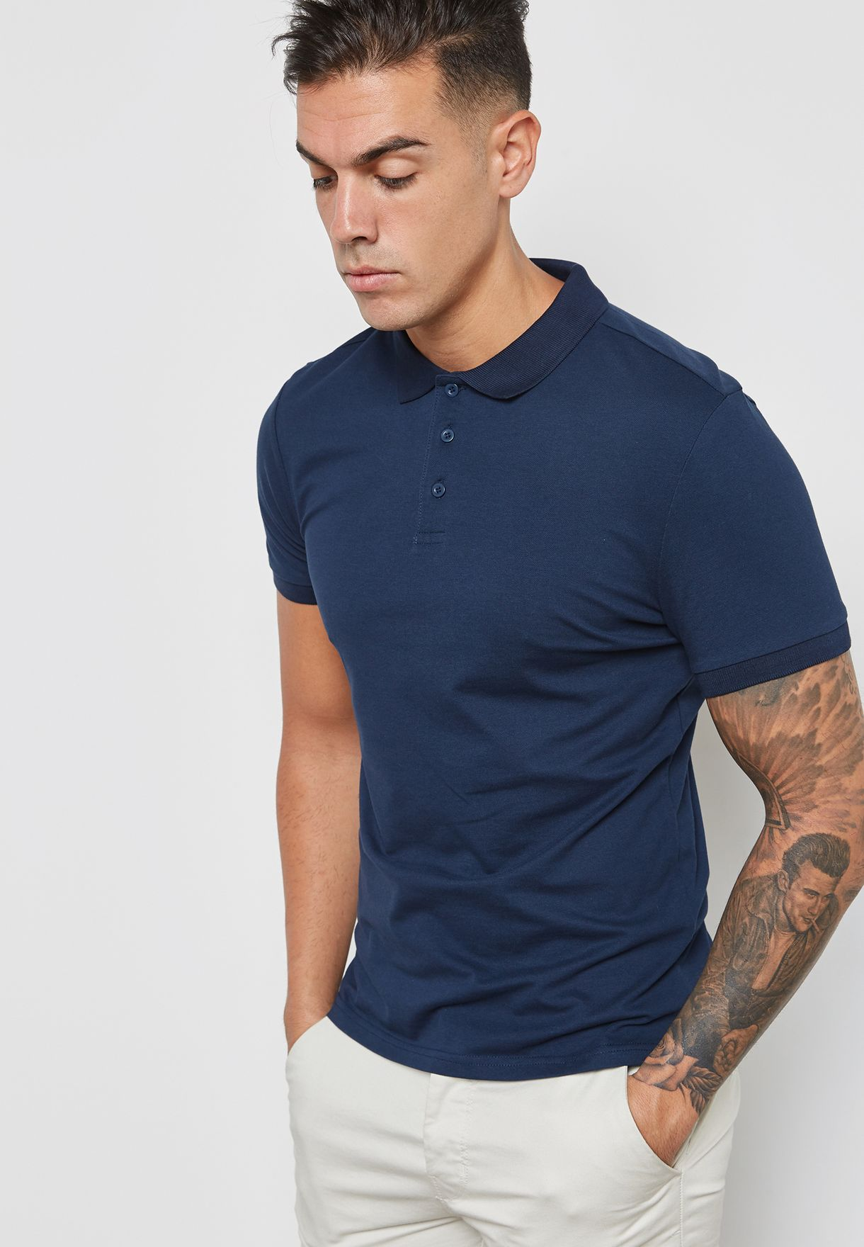 bee5b713 Shop Topman blue Muscle Fit Polo 71I10QNAV for Men in Bahrain ...