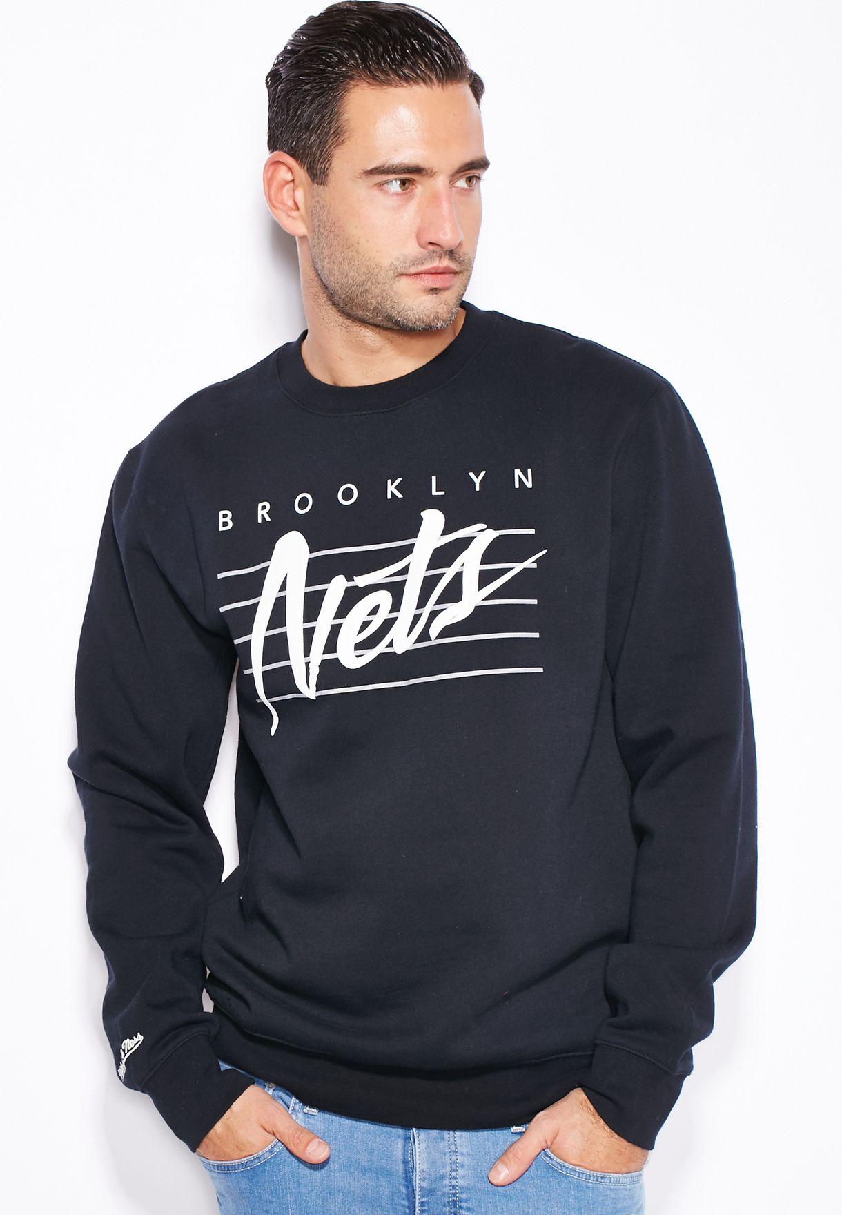 3201b020c Shop Mitchell Ness black Brooklyn Nets Sweatshirt for Men in UAE ...
