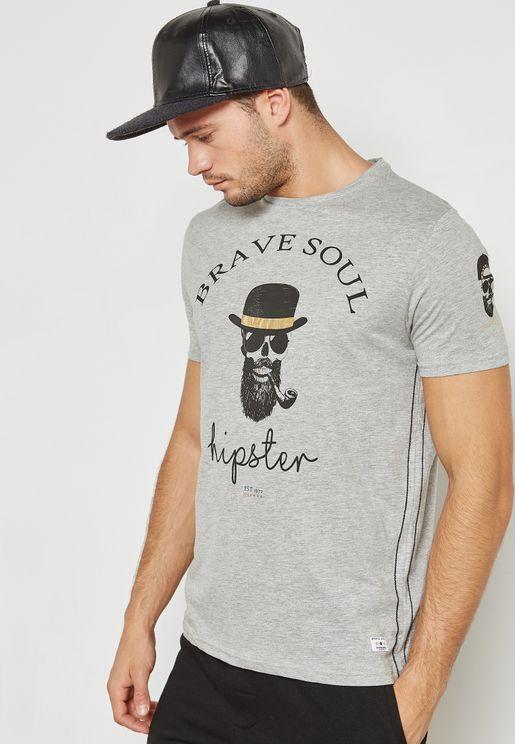 Hipster Skull Crew Neck T Shirt