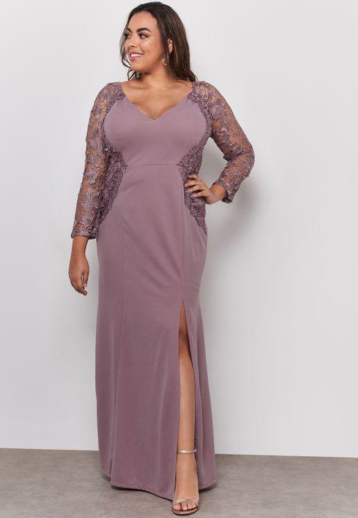 Lace Detail V-Neck Maxi Dress