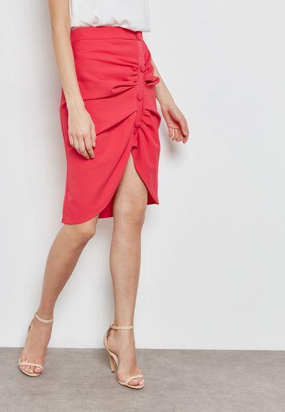 Button Front Detail Skirt