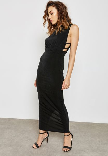 High Neck Side Strap Dress