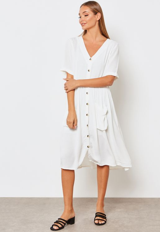 Button Detail Short Sleeve Dress