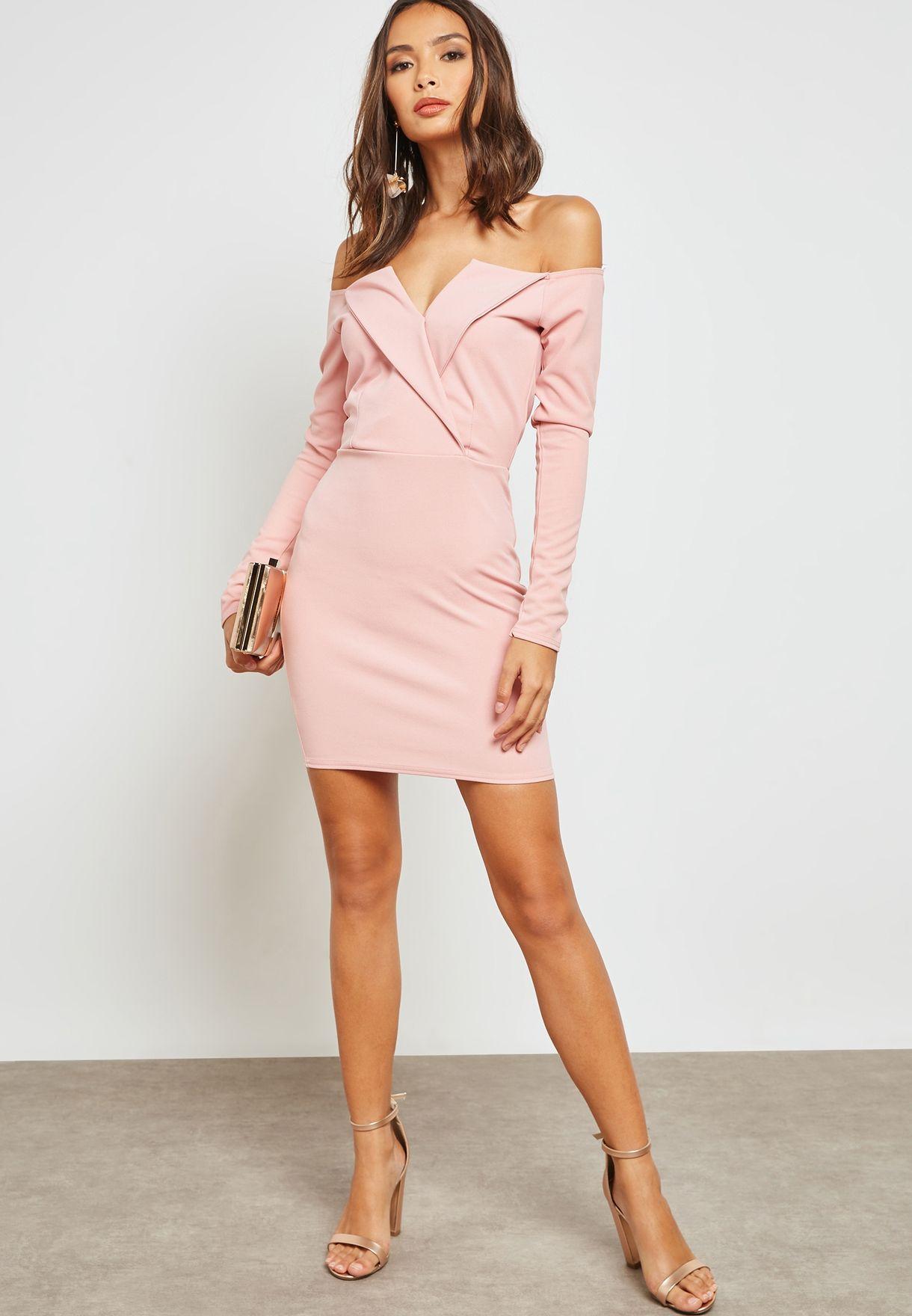 a63f1dbc6e77 Shop Missguided pink Bardot Foldover Wrap Dress DE914831 for Women ...