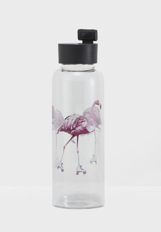 Rollerskating Flamingos Glass Water Bottle 400ml