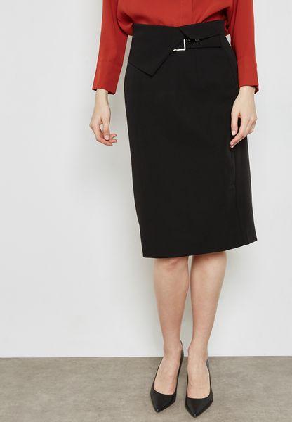 Detailed Waist Belted Skirt