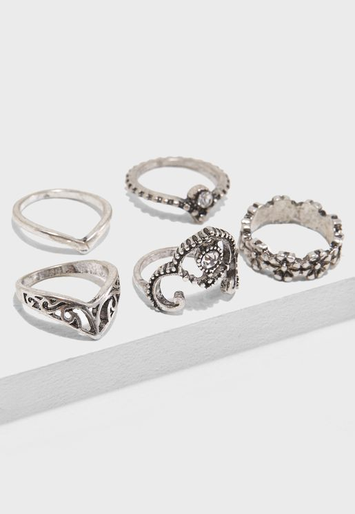 Multipack Grungy Flower Rings
