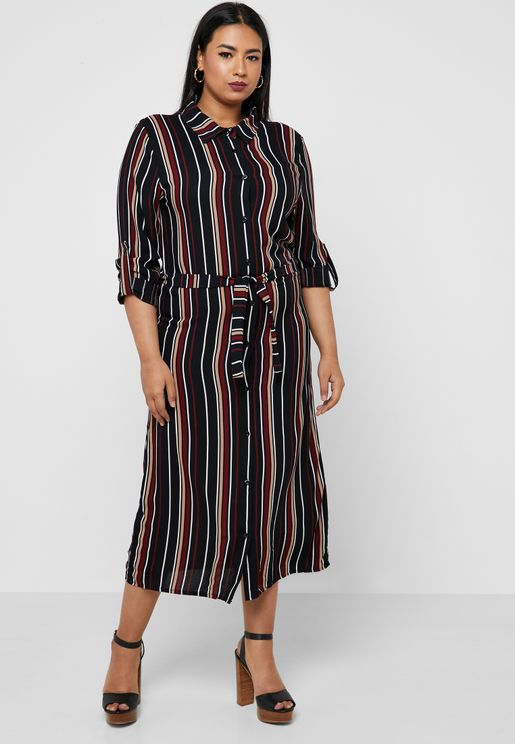 Striped Self Tie Shirt Midi Dress