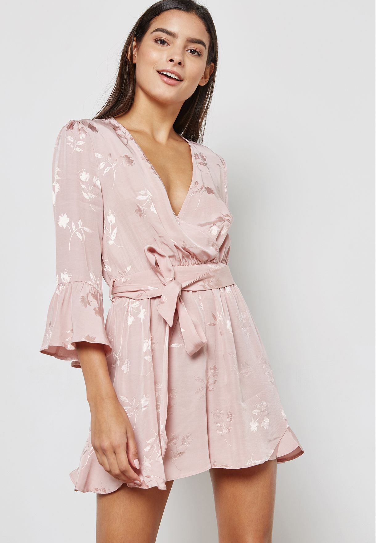 9397c355971 Shop Miss Selfridge Petite pink Belted Jacquard Playsuit 34A09VPNK ...