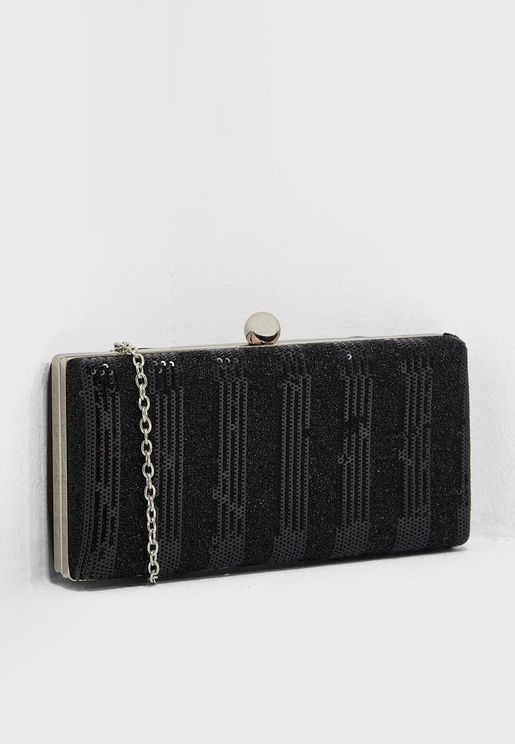 Striped Sequin Clutch