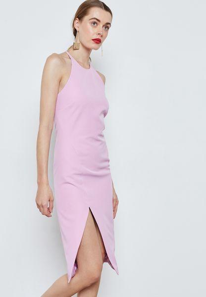Slit Detail Midi Dress